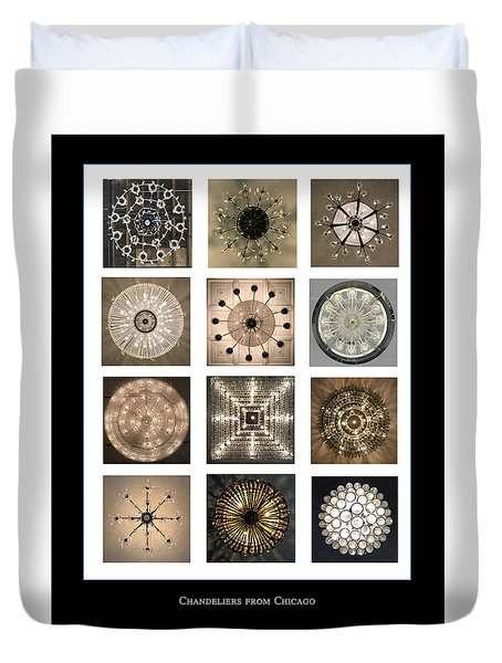 Chandeliers From Chicago Poster Duvet Cover