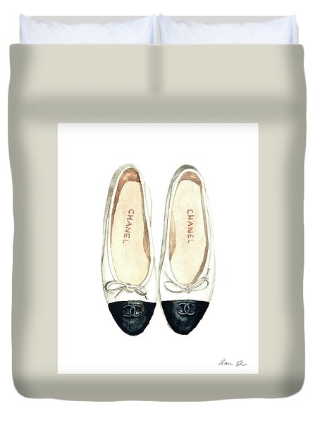 Chanel Ballet Flats Classic Watercolor Fashion Illustration Coco Quotes Vintage Paris Black White Duvet Cover