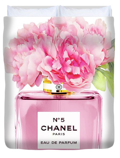 Chanel N5 Pink With Flowers Duvet Cover