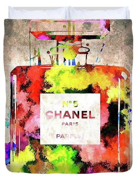 Chanel No 5 Duvet Cover by Daniel Janda
