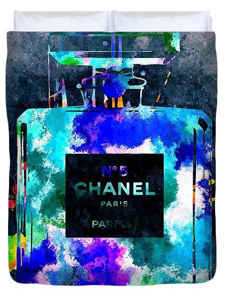 Chanel No 5 Dark Grunge Duvet Cover by Daniel Janda