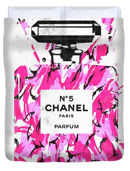 Chanel No. 5 Pink Army Duvet Cover by Daniel Janda