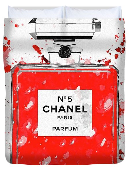 Chanel No 5 Red Duvet Cover