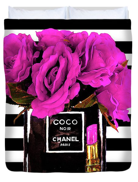 Chanel Noir Perfume With Flowers Duvet Cover