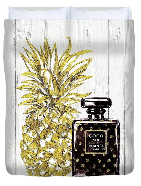 Chanel  Noir Perfume With Pineapple Duvet Cover by Del Art