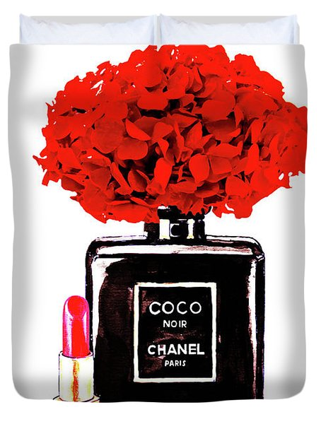 Chanel Noir Perfume With Red  Hydrangea  Duvet Cover