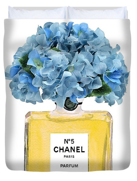 Chanel Perfume Nr 5 With Blue Hydragenias  Duvet Cover