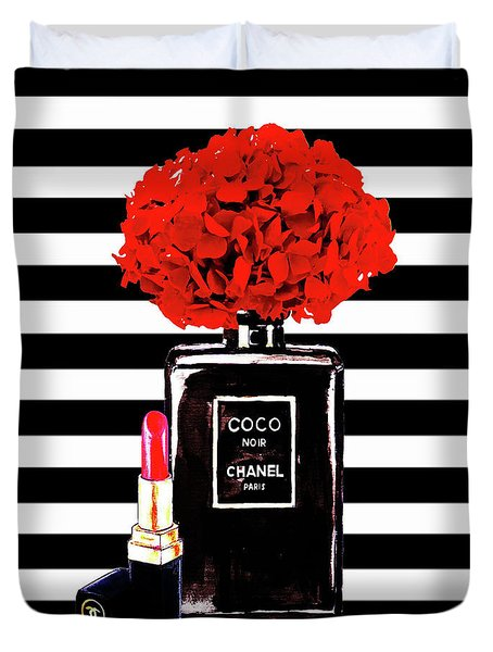 Chanel Poster Chanel Print Chanel Perfume Print Chanel With Red Hydragenia 3 Duvet Cover