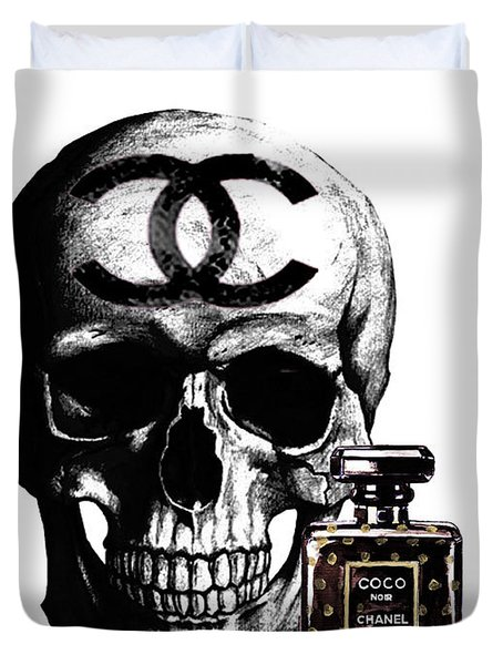 Chanel Skull With Chanel Noir Perfume Duvet Cover
