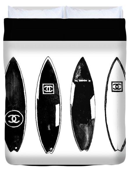Chanel Surfboard  Black And White Duvet Cover