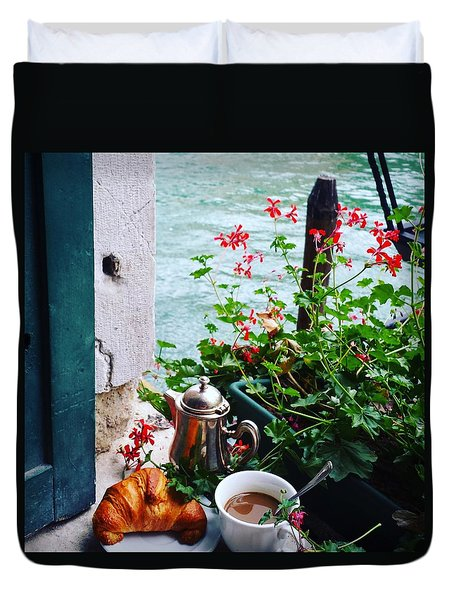 Chanel View Breakfast In Venezia Duvet Cover