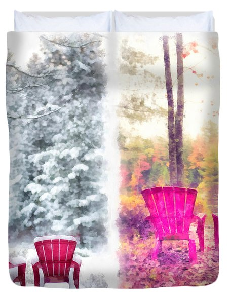 Changing Seasons Anderson Pond Eastman Grantham New Hampshire Duvet Cover