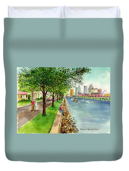 Channel Drive Tampa Florida Duvet Cover by Frank Hunter