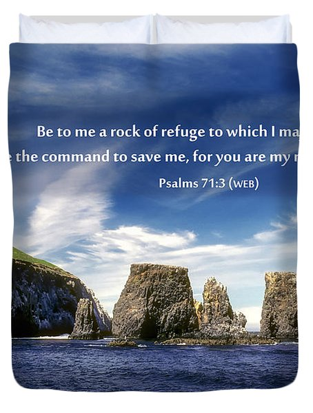 Channel Island National Park - Anacapa Island Arch With Bible Verse Duvet Cover