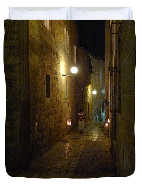 Duvet Cover featuring the photograph Chanukah At The Old City Of Jerusalem by Dubi Roman