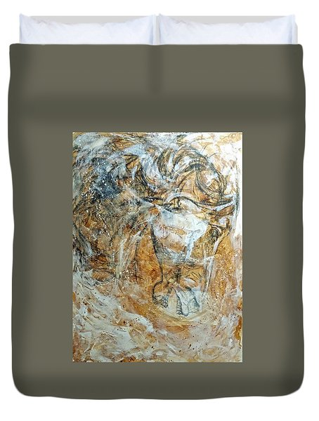 Duvet Cover featuring the painting Chaos by Jennifer Godshalk