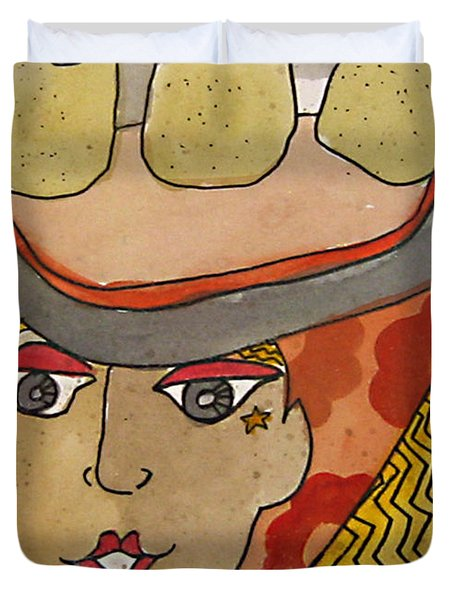 Chapeau Pommes Duvet Cover