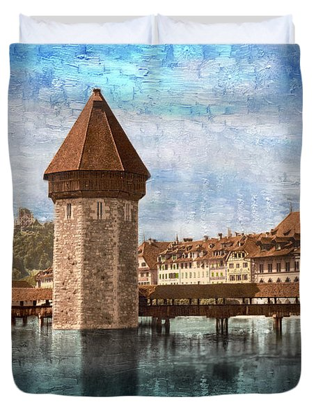 Chapel Bridge In Lucerne Duvet Cover