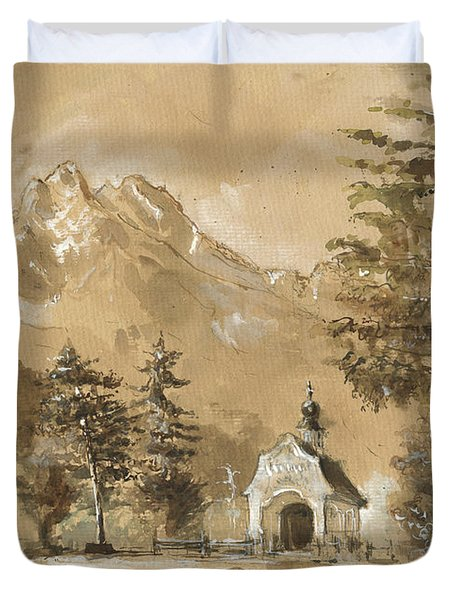 Chapel In The Forest Duvet Cover