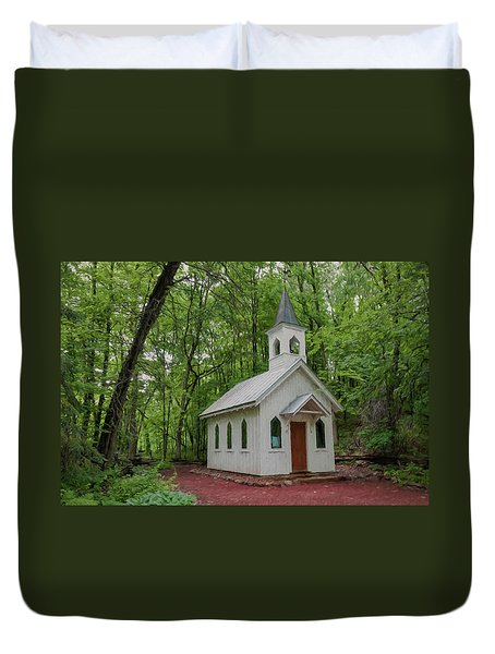 Chapel In The Woods 1 Duvet Cover