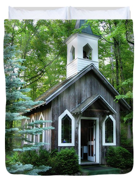Chapel In The Woods Duvet Cover