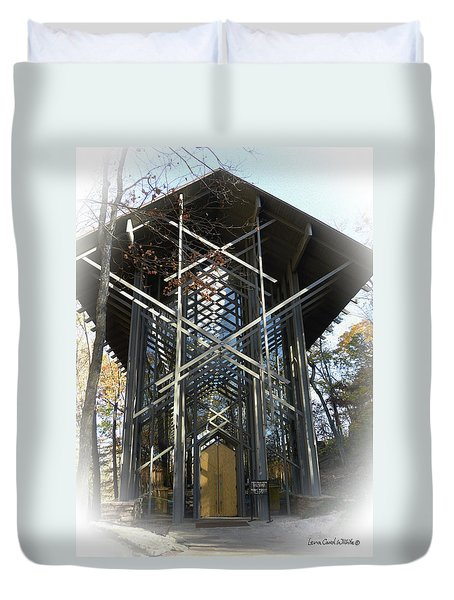 Duvet Cover featuring the photograph Chapel In The Woods by Lena Wilhite