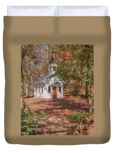 Chapel In Woods At Red Mill 3 Duvet Cover