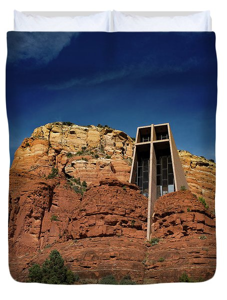 Duvet Cover featuring the photograph Chapel Of The Holy Cross by Ron White