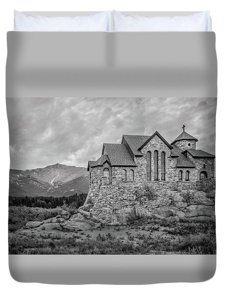 Chapel On The Rock - Black And White Duvet Cover