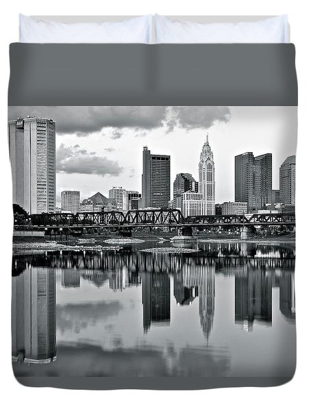 Charcoal Columbus Mirror Image Duvet Cover by Frozen in Time Fine Art Photography