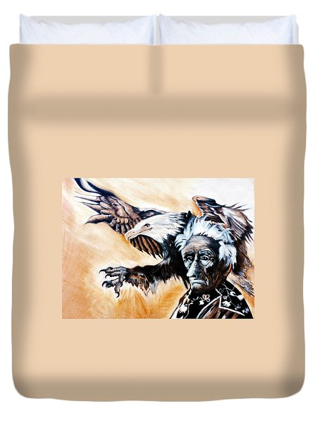 Charcoal Drawing Of Gabenahgweywence By Ayasha Loya Duvet Cover by Ayasha Loya