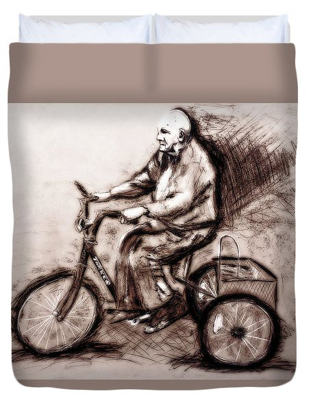 Charcoal Drawing Of Pedal To The Metal By Ayasha Loya Duvet Cover by Ayasha Loya