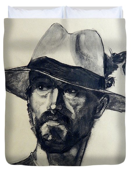 Charcoal Portrait Of A Man Wearing A Summer Hat Duvet Cover