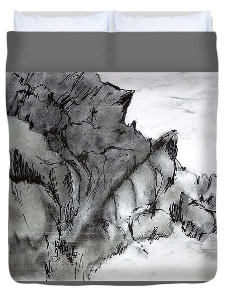 Charcoal Sea Rocks Duvet Cover