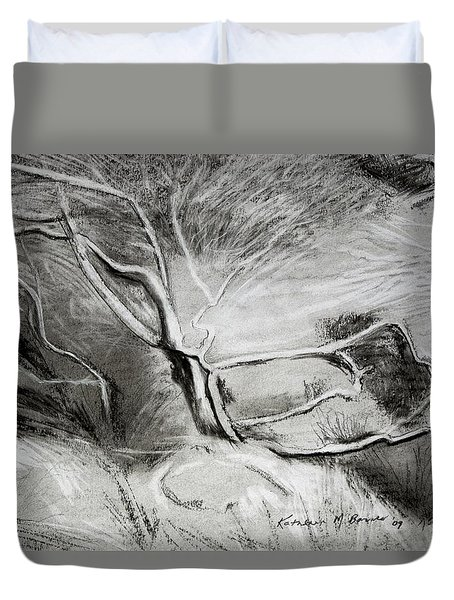 Charcoal Tree Duvet Cover