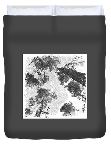 Charcoal Trees Duvet Cover