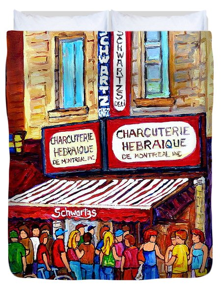 Charcuterie Hebraique Schwartz Line Up Waiting For Smoked Meat Montreal Paintings Carole Spandau     Duvet Cover