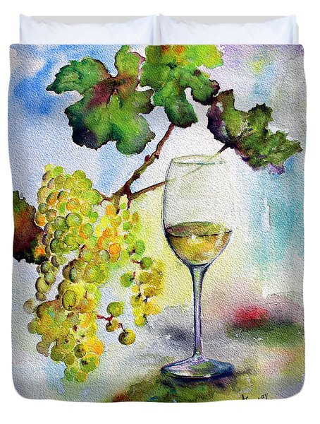 Duvet Cover featuring the painting Chardonnay Wine Glass And Grapes by Ginette Callaway