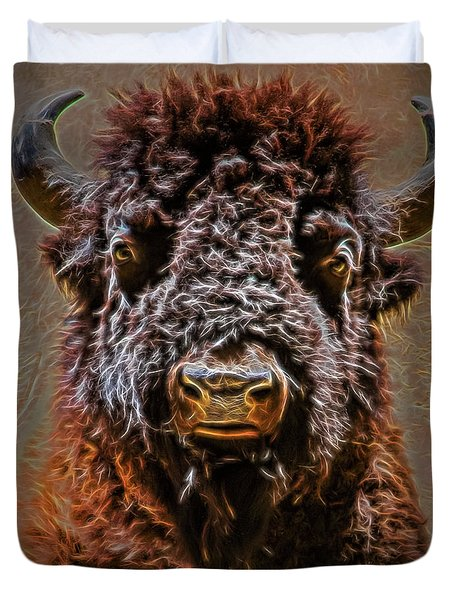 Duvet Cover featuring the digital art Charging Bison by Ray Shiu
