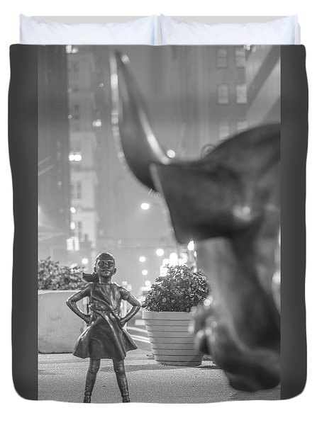 Charging Bull And Fearless Girl Nyc  Duvet Cover