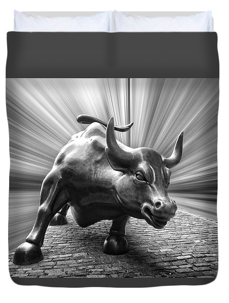 Charging Wall Street Bull B W Duvet Cover