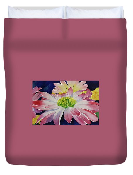 Duvet Cover featuring the painting Charisma by Judy Mercer