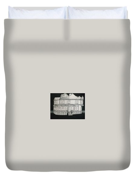 Duvet Cover featuring the drawing Charles A. Spies Historical Menominee Home. by Jonathon Hansen