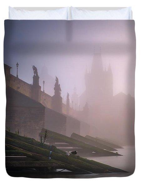 Charles Bridge At Autumn Foggy Day, Prague, Czech Republic Duvet Cover