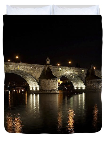 Charles Bridge At Night Duvet Cover by Michal Boubin