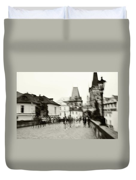Duvet Cover featuring the photograph Charles Bridge. Black And White. Impressionism by Jenny Rainbow