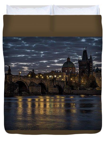 Duvet Cover featuring the photograph Charles Bridge Dawn - Prague by Stuart Litoff