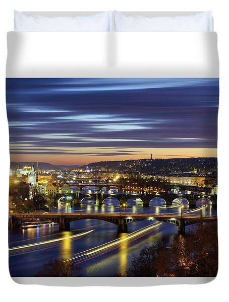 Charles Bridge During Sunset With Several Boats, Prague, Czech Republic Duvet Cover