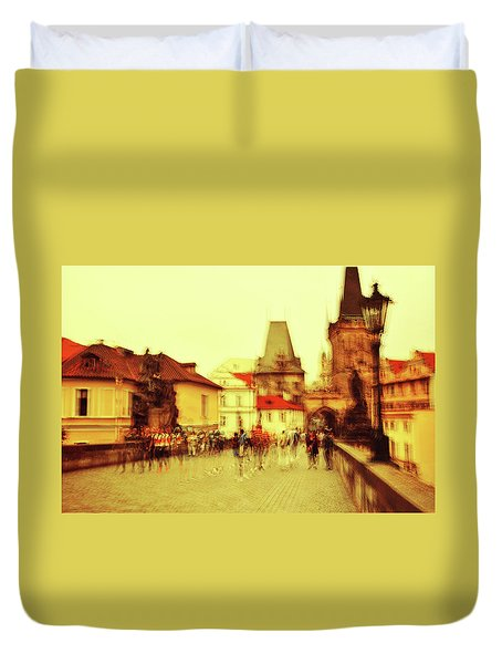 Duvet Cover featuring the photograph Charles Bridge. Golden Prague. Impressionism by Jenny Rainbow