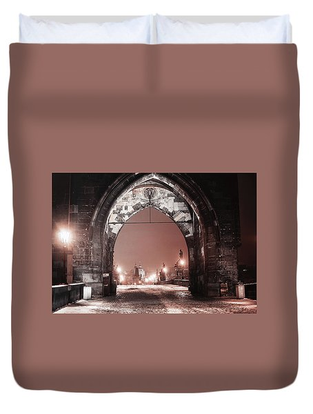 Duvet Cover featuring the photograph Charles Bridge In Winter. Prague by Jenny Rainbow